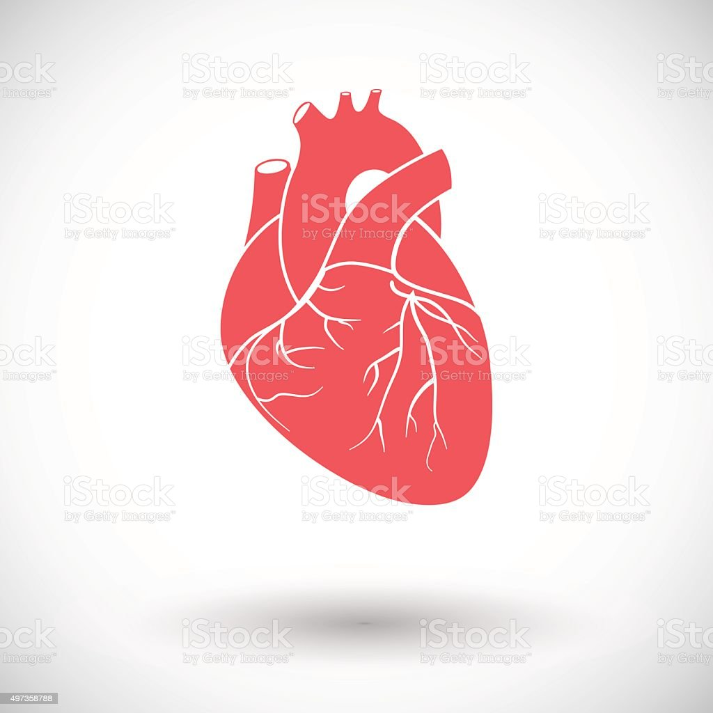 Heart flat icon vector art illustration