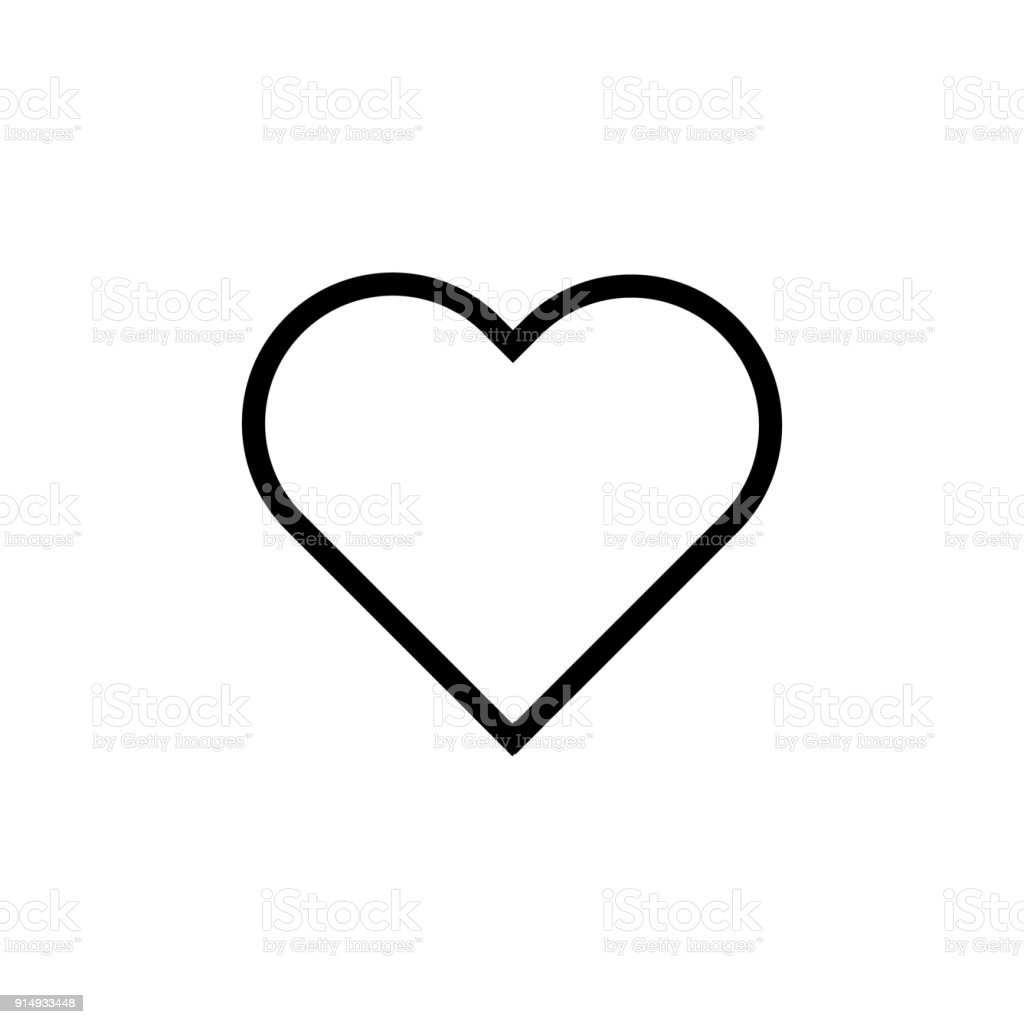 Heart flat style Icon Vector , Love Symbol Valentine's Day isolated on white background illustration - Royalty-free Abstrato arte vetorial