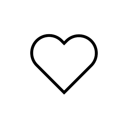 Heart flat style Icon Vector , Love Symbol Valentine's Day isolated on white background illustration