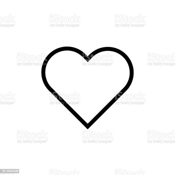Heart Flat Style Icon Vector Love Symbol Valentines Day Isolated On White Background Illustration - Arte vetorial de stock e mais imagens de Abstrato