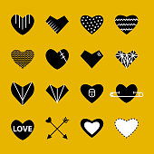 Heart flat white and black modern icon color set isolated on a yellow  background. Symbol  of relationships, feelings, souls,icon love, sign emotion. Valentine day ,marriage,anniversary day sign .Romantic icon Declaration of love. Part I