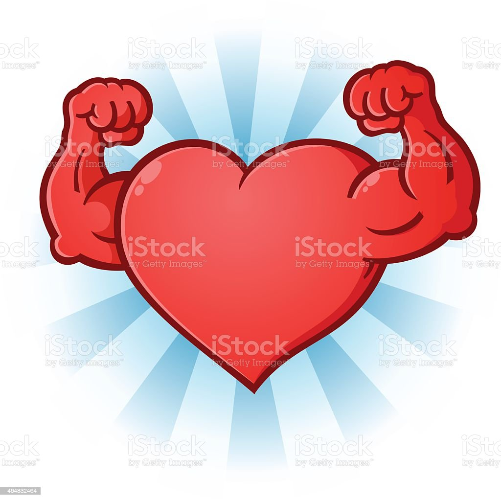 Heart Flexing Muscles Cartoon Character vector art illustration