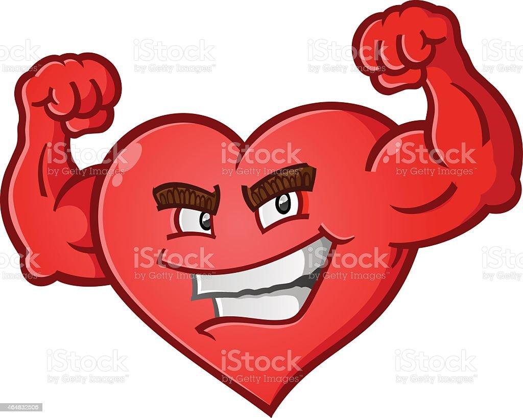 Heart Flexing Muscles Cartoon Character Stock Vector Art
