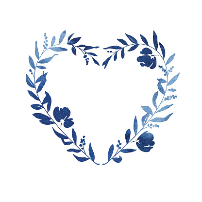 Heart Floral Wreath - Blue Watercolour