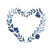 istock Heart Floral Wreath - Blue Watercolour 600371608