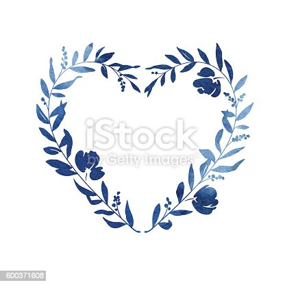 heart floral wreath blue watercolour stock vector art