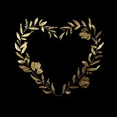 A beautiful gold leaf / metallic foil heart shaped floral wreath. Also included on a separate layer is a single solid colour version of the illustration, with leaves, branches, berries and flowers all kept as individual design elements. This allows you to easily customise the arrangement or colour to be more personal to you. This floral heart is an ideal feature for your wedding stationery, greetings card or elegant design project and the vector illustration can be scaled and printed at any size without loss of quality.