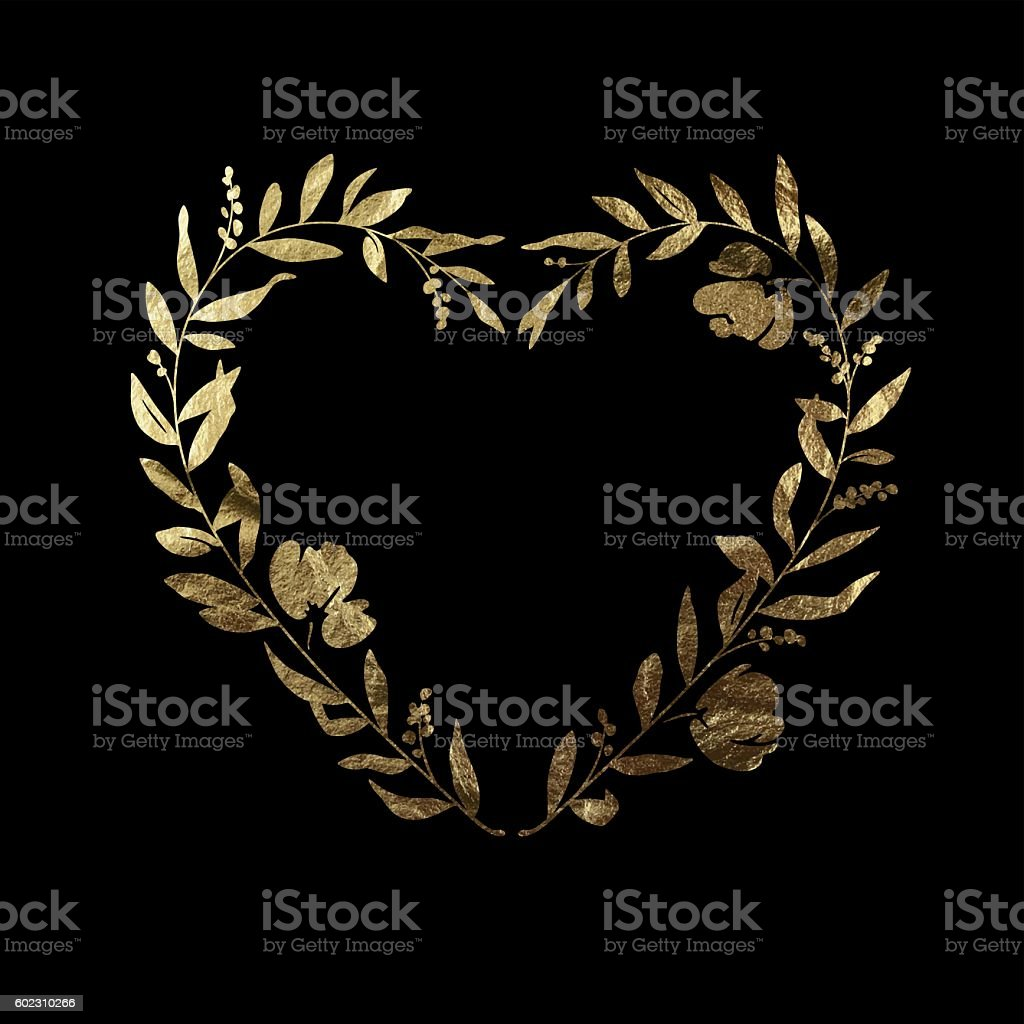 Heart Floral Wreath - Gold Leaf Metallic Foil vector art illustration