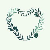 Heart Floral Wreath - Green Watercolour