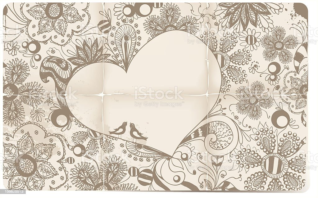 Heart, flowers, birds doodle royalty-free heart flowers birds doodle stock vector art & more images of beige