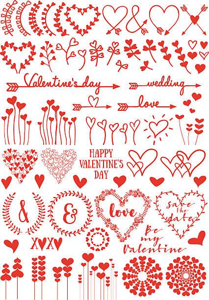 心臓の花、ベクトルセット - いたずら書き/手書きのフレーム点のイラスト素材/クリップアート素材/マンガ素材/アイコン素材