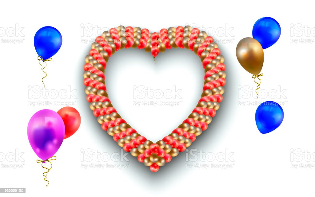 Heart Frame And Balloons On White Vector Illustration Of Heartshaped ...