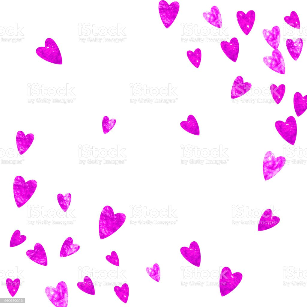 Heart Frame Background With Gold Glitter Hearts Valentines Day