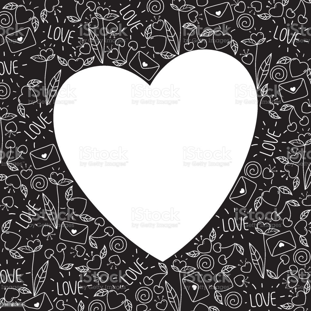 Heart Frame Made Of Doodle Valentine Elements In Black And White ...