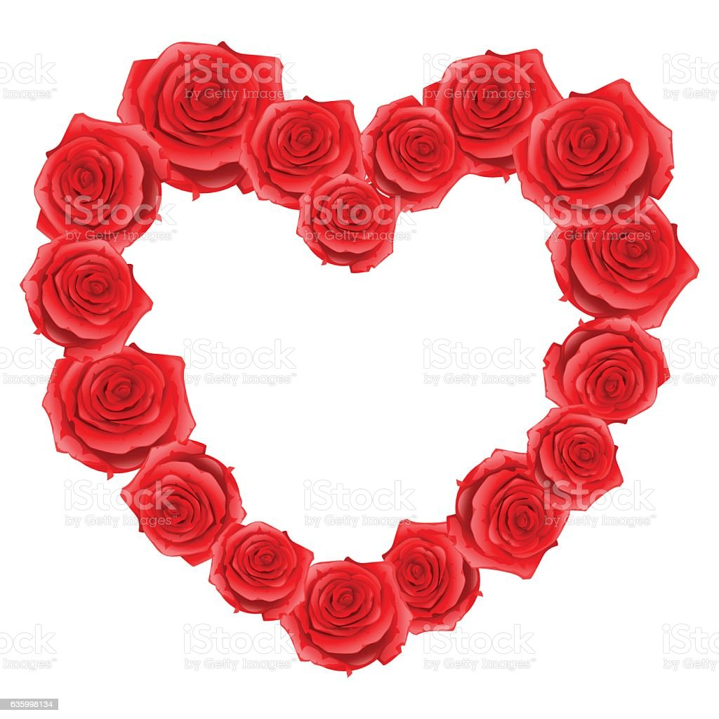 Heart Frame Of Red Realistic Roses Happy Valentine Day Greeting ...
