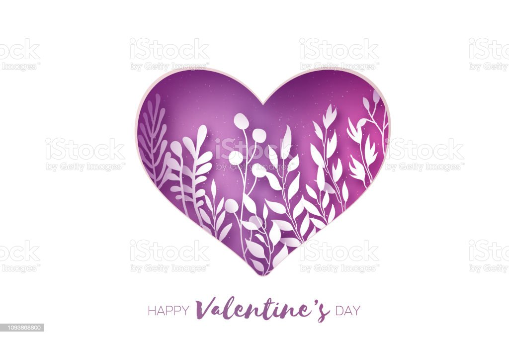 Heart Frame Valentines Day Greetings Card Realistic Paper Cut White Flowers And Leaves Colorful Floral Bouquet Purple Stock Illustration Download
