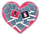 Heart Frame Wedding Love Photo Collage