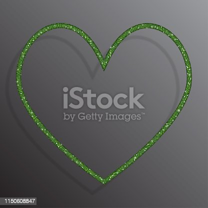 Heart frame banner background with green sequins, glitters, sparkles, paillettes. Disco party background with shiny sequins. Green dot glitter texture. Metallic glowing cloth. Bright wall. Repeat.