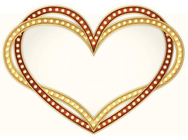 Heart frame with lamps vector art illustration