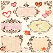 Scroll frames with hearts, bird and dove. AI CS5, EPS 10 and JPG.