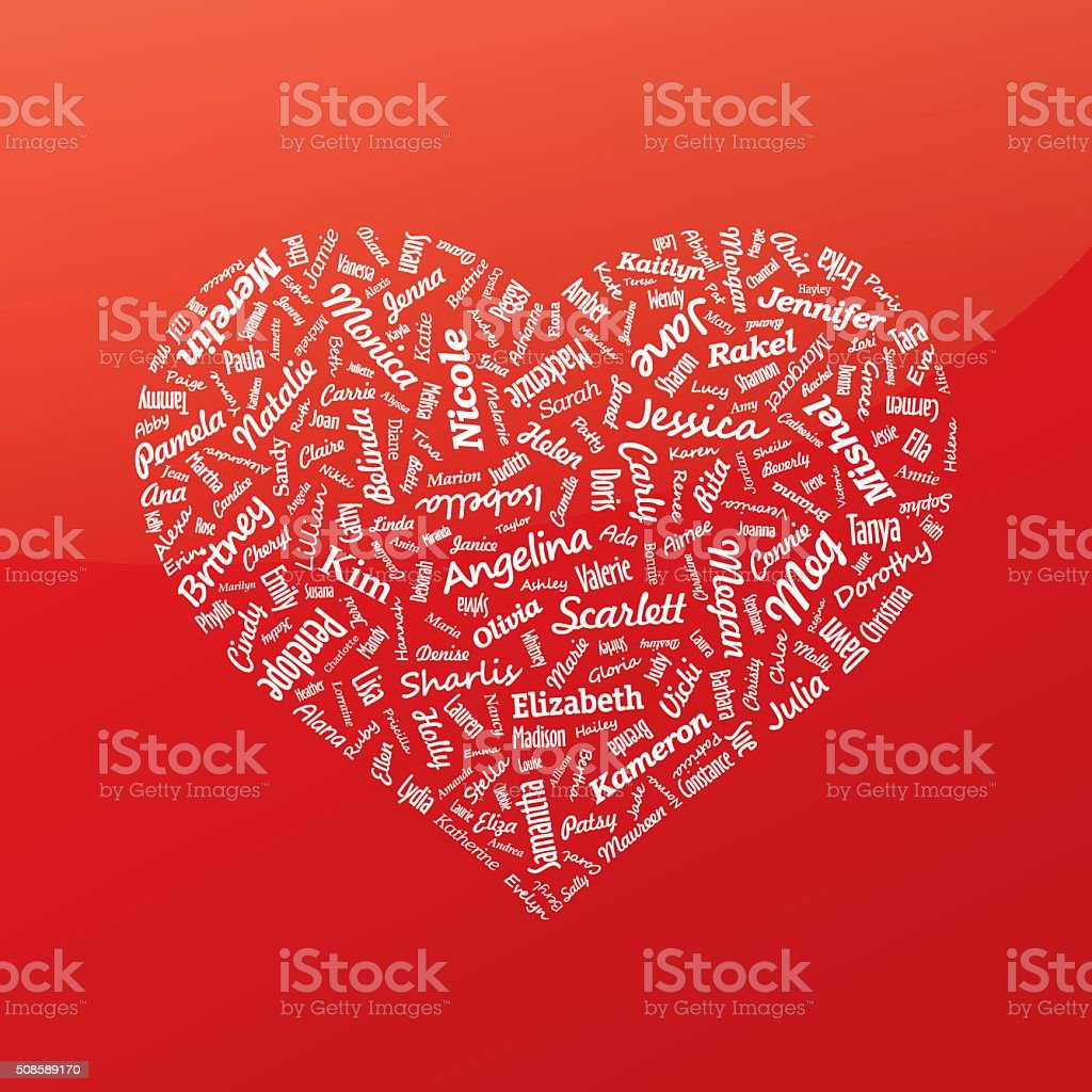 Heart From Famous Womans Names Valentines Day Stock Vector Art