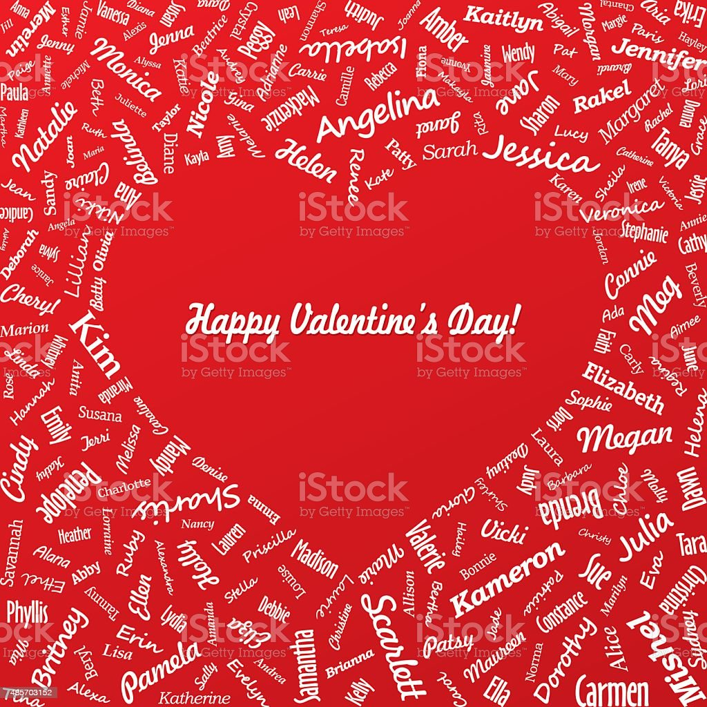 heart from famous womans names with title valentines day royalty free stock vector