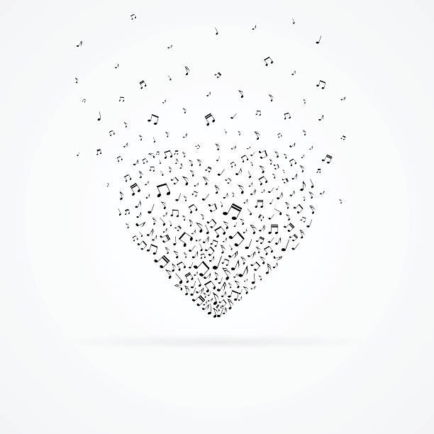 Heart from floating notes isolated on white. vector art illustration