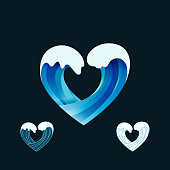 Heart from Water Splash. Ocean Waves Motion Symbol. Vector Blue Surf Icon.