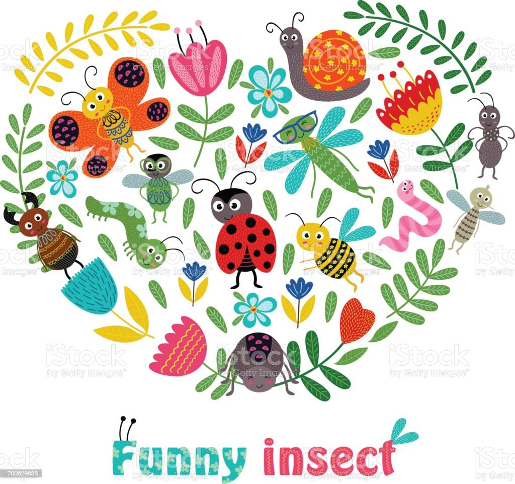 heart funny insect and plants vector art illustration