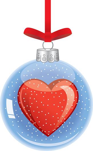 Heart Glass Christmas Ornament