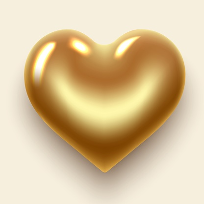heart gold isolated