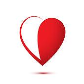 Heart half red flat vector logo illustration. Humanitarian aid, generosity, kindness symbol. Volunteering work, donation. Charitable fund, non-profit donor organization logo design template