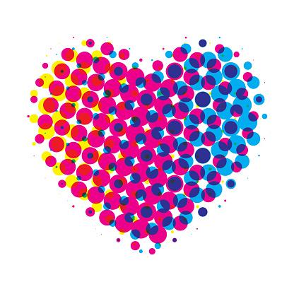 Heart halftone on white background