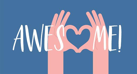 Heart Hand Gesture Sign Motivational Quote Encouragement Inspirational Card Meme