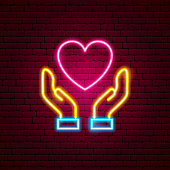 Heart Hands Neon Sign. Vector Illustration of Love Promotion.