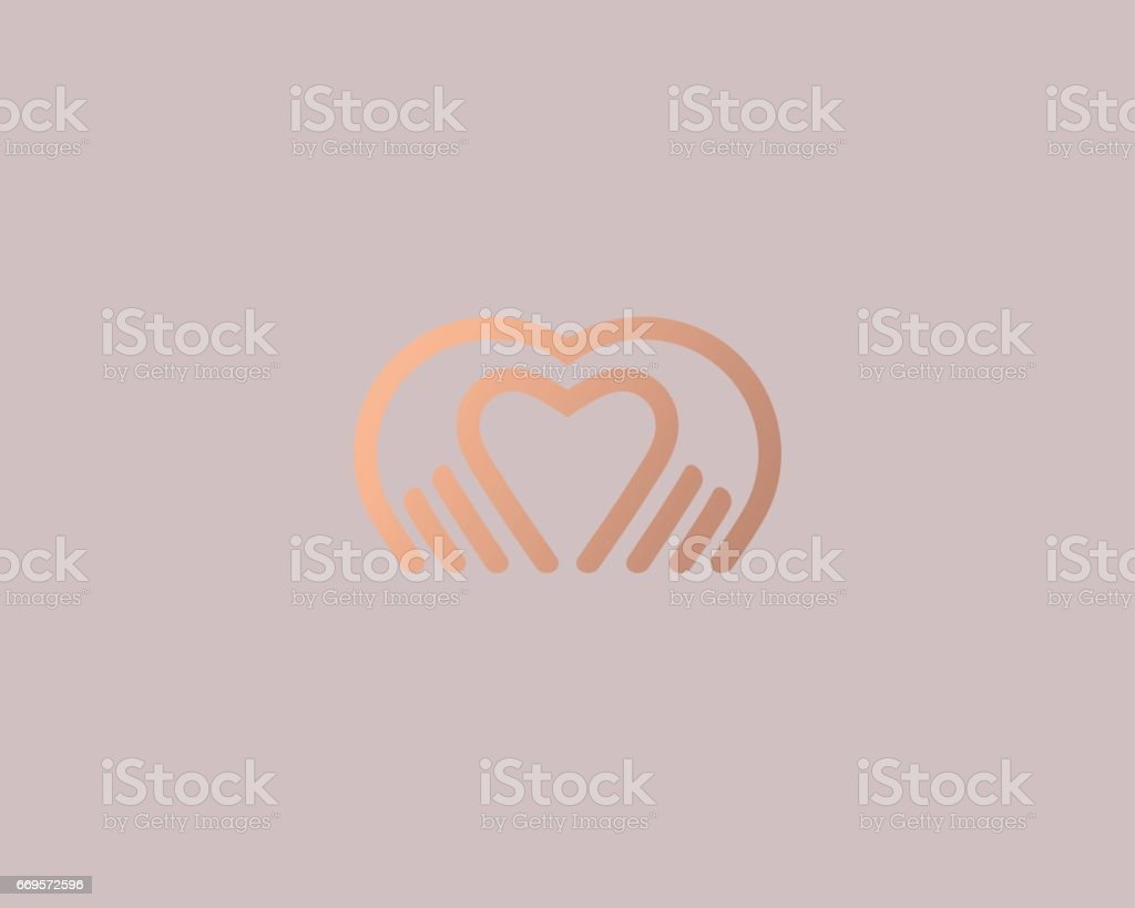 Heart hands vector logotype. Palm love logo icon design. vector art illustration