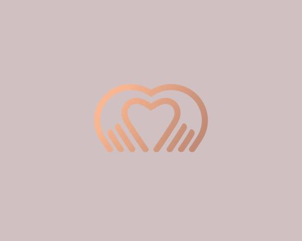 heart hands vector logotype. palm love logo icon design. - massage stock illustrations