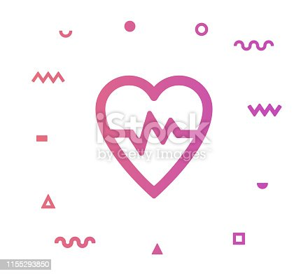 Heart health outline style icon design with decorations and gradient color. Line vector icon illustration for modern infographics, mobile designs and web banners.