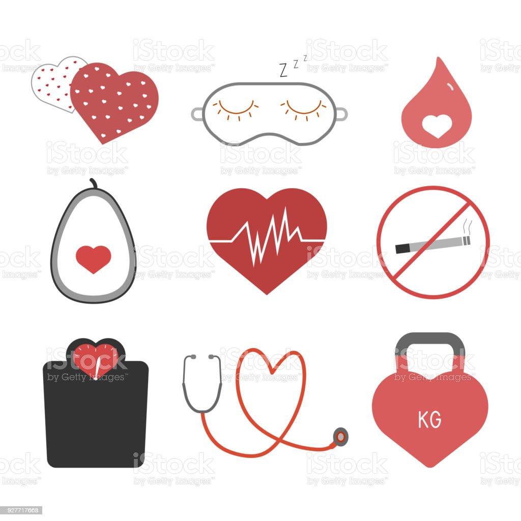 Heart health tips icons set vector art illustration