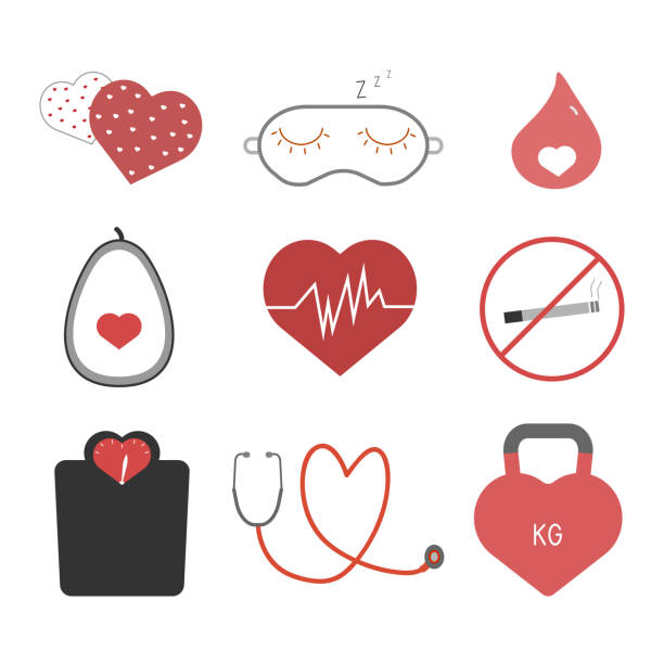 Heart health tips icons set vector art illustration