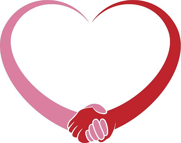 Heart Holding Hands vector art illustration