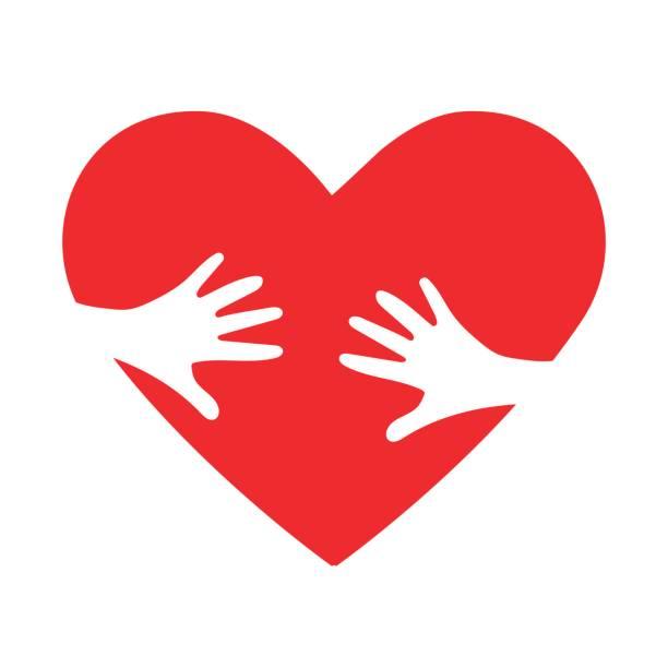 herzen umarmen vektor icon als kinder annahme metapher. helfen oder liebevollen hände umarmen rotes herz. - adoption stock-grafiken, -clipart, -cartoons und -symbole