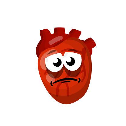 Heart. Human internal organ. Medicine and cardiology. Sick character and sad illness mascot. Cartoon flat illustration