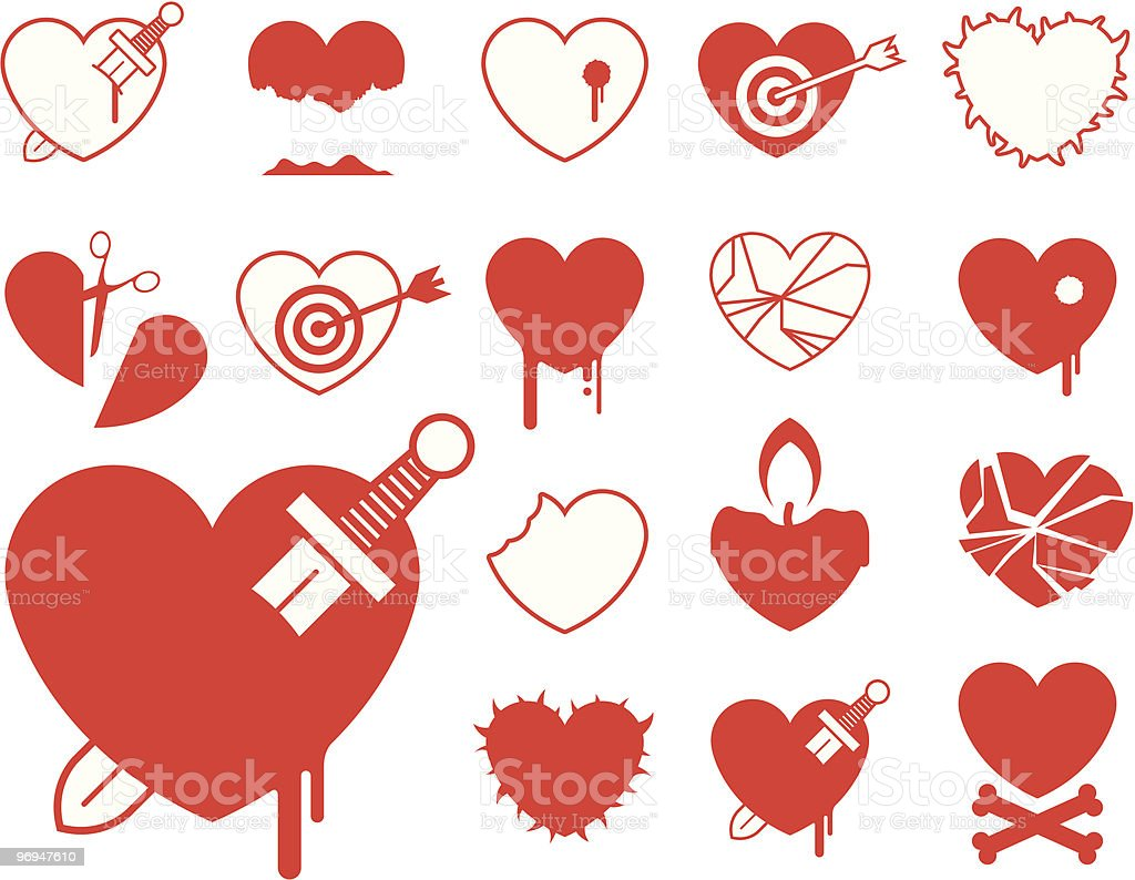 Heart icon collection - blood/violence vector royalty-free heart icon collection bloodviolence vector stock vector art & more images of abstract