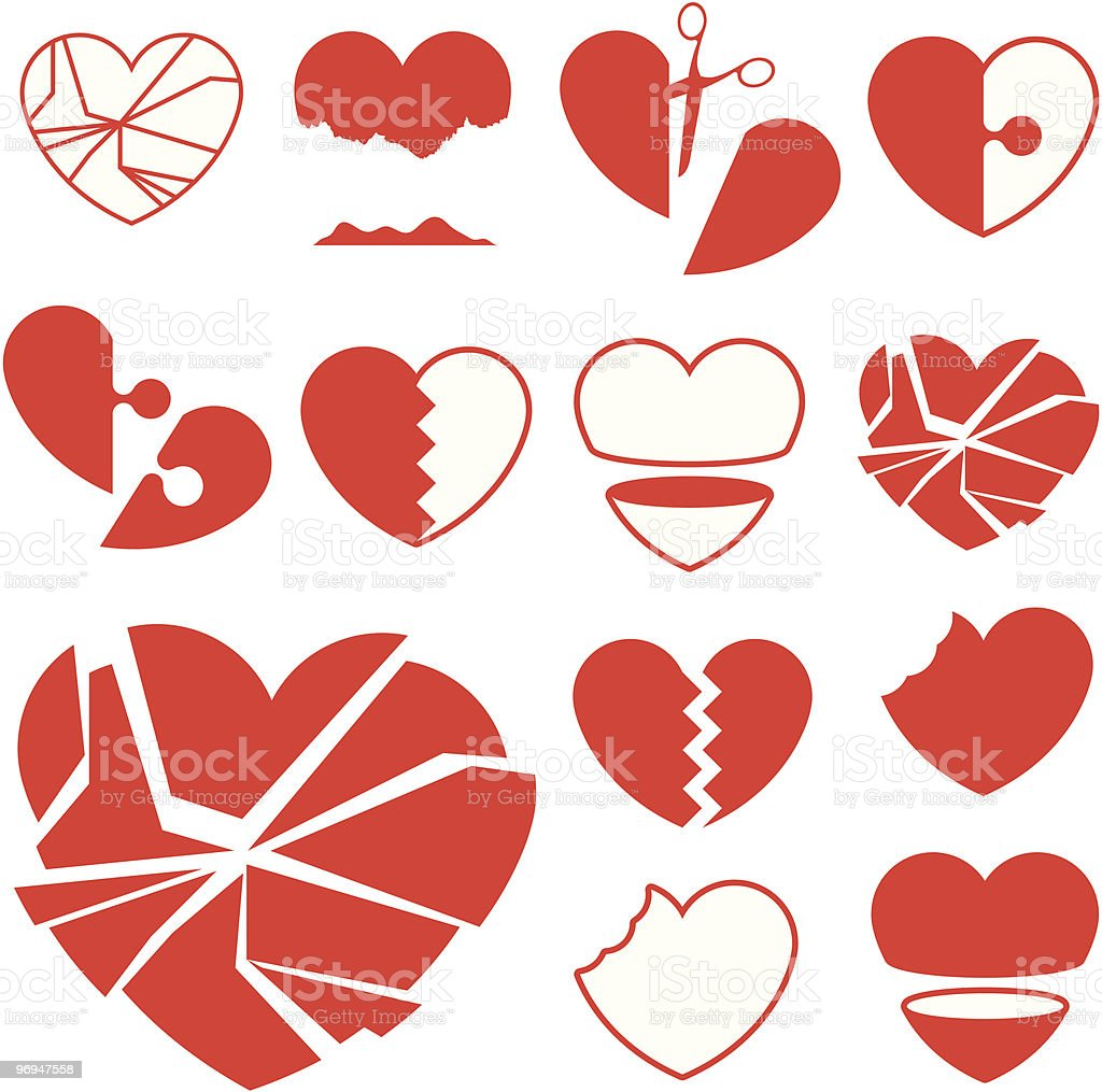 Heart icon collection - broken vector royalty-free heart icon collection broken vector stock vector art & more images of abstract