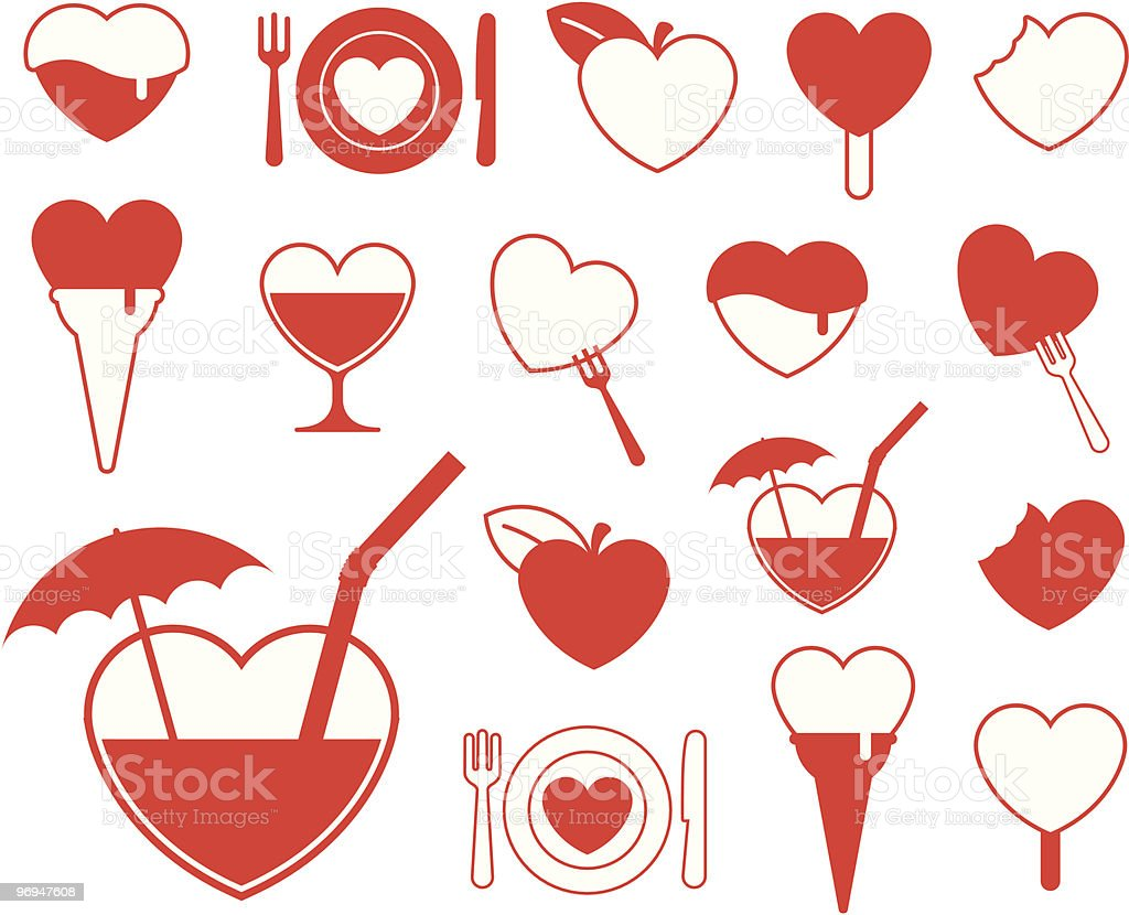 Heart icon collection - food/beverage vector royalty-free heart icon collection foodbeverage vector stock vector art & more images of abstract