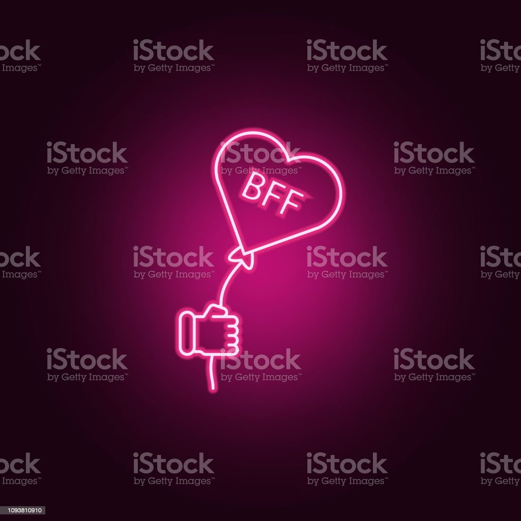BFF heart icon. Elements of Friendship in neon style icons. Simple icon for websites, web design, mobile app, info graphics vector art illustration