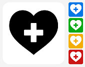 Heart Icon. This 100% royalty free vector illustration features the main icon pictured in black inside a white square. The alternative color options in blue, green, yellow and red are on the right of the icon and are arranged in a vertical column.