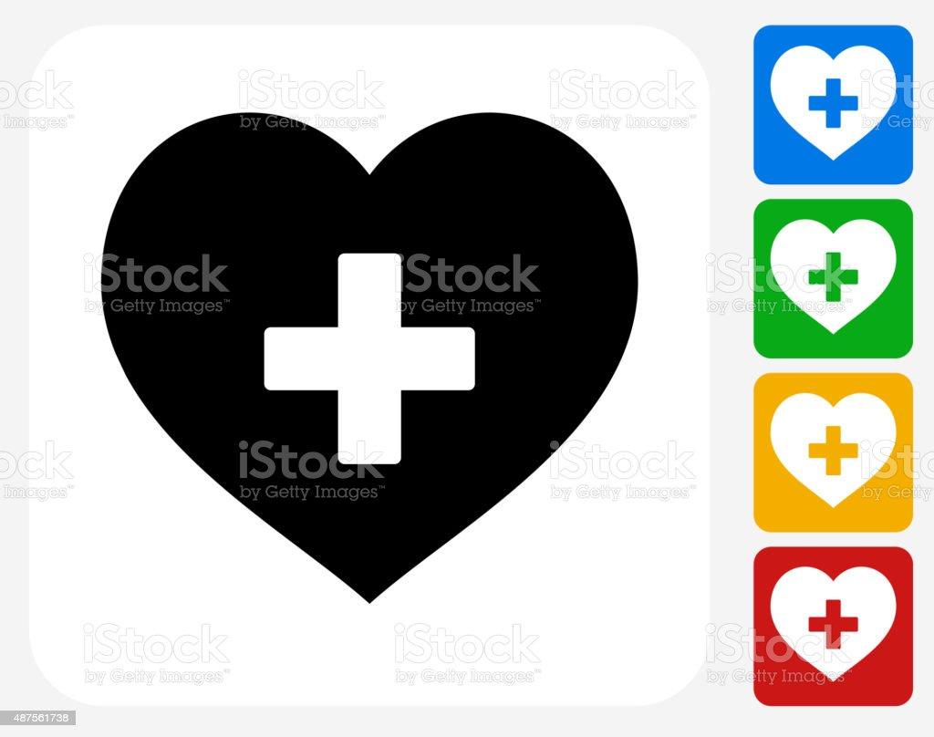 Heart Icon Flat Graphic Design vector art illustration