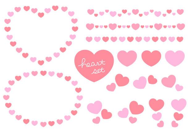 Heart icon, line, and frame set vector art illustration